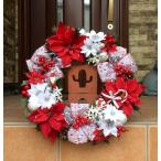 ショッピングクリスマスリース クリスマスリース アートフラワーリース 40cm  サンタ&スノーマン&キャンディケーン2 No.xmas-14275