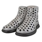 レディース 靴 ブーツ プッティローズ 日本製 パンチング スプリングサマーブーツ 後ろファスナー ペタンコ 送料無料 シルバー PUTTIROSE130SIV