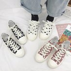 スニーカー レディース 春夏秋冬 紐靴 ローカット キャンバス 帆布靴 ドット 水玉 定番
