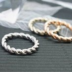 ピンキーリング 指輪 小指 ねじりリング スクリュー加工 シンプル レディース 4号 6号 シルバー ゴールド ピンクゴールド  プチプラ 春夏