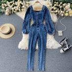 気質ブレストスリムフィットジャンプスーツオータムドレス2020新女神ファンヤンスタイルバブルスリーブレトロジーンズ