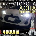 ショッピングLED 15-A-1)アクア(NHP10中期モデル)LEDロービームランプ LED MONSTER 全光束4600ルーメン ホワイト6600K H11