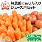 にんじん 人参 送料無料 野菜セット 無農薬にんじん5kg+慣行栽培りんご2kg