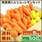にんじん 人参 送料無料 野菜セット 無農薬にんじん8kg+慣行栽培レモン500g