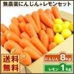 にんじん 人参 送料無料 野菜セット 無農薬にんじん8kg+慣行栽培レモン1kg