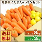 にんじん 人参 送料無料 野菜セット 無農薬にんじん8kg+慣行栽培レモン2kg