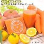 皮ごとゆずde人参ジュース 4箱 100cc×120P 無農薬にんじん ニンジン りんご レモン 柚子 コールドプレス製法 野菜ジュース