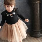 チュール ワンピース フォーマル 長袖 女の子 子供服