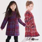子供服 アウター 女の子 キッズ服 ACT1 へボン ノーカラー コート チェック 赤 レッド