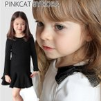 子供服 フォーマル 女の子 ワンピース キッズ ドレス 結婚式  Rora ロンニワンピース 白 黒 モノトーン 肩リボン リボン