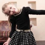 子供服 女の子 キッズ カットソーCA22 Rora サンサン 長袖t 大粒パールとプチリボンがエレガントな上品カットソー
