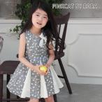 Rora カンナ サーキュラーワンピース リボンブローチセット 子供服 ワンピース ノースリーブ  フォーマル CB72