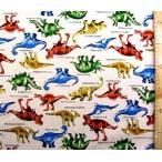 プリント 生地 恐竜の世界 ( 生成 )オックス ( 綿100% )  生地幅−約108cm KYH-MOWF-109-OW-nk-2033