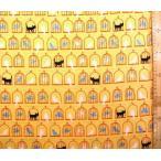 プリント 布 小鳥 と 猫 ( オレンジイエロー )  オックス ( 綿100% ) 生地幅−約108cm ( cotoriru コトリル ) LC-830906-50-nk-2084