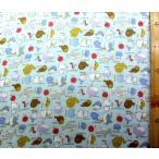 ◇ ダブルガーゼ生地 布 マンボー ラッコ クラゲたち( ブルー系 ) ( 綿100% ) 生地幅−約108cm( 商品の特性上、柄が多少歪んでいる場合があります。 )