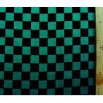 ◇ ダブルガーゼ 生地 布 市松模様 ( グリーン 黒 ) ( 綿100% ) 生地幅−約105cm( 商品の特性上、柄が多少歪んでいる場合があります。 きめつのやいば )
