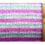 ダブルガーゼ 生地 布 矢がすり ( オフ グリーン ピンク グラデーション )( 綿100% ) 生地幅−約105cm( 商品の特性上、多少歪んでいる場合があります。 )