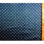ダブルガーゼ 生地 布 デニム調 星柄( 薄紺に白 )( 綿100% ) 生地幅−約105cm( 商品の特性上、柄が多少歪んでいる場合があります。 )wnk-8105