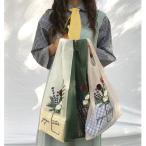 エコバッグ トートバック゛お花の刺繍 オーガンジー おしゃれ