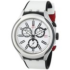 スウォッチSwatch White Dial White Silicone Quartz Chronograph Men's Watch YYS4005