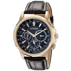 シチズンCitizen Eco-Drive Men's BU2023-04E Calendrier Gold-Tone Watch with Leather Band