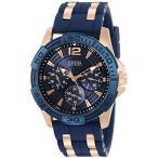 【当店1年保証】ゲスGUESS Men's U0366G4 Iconic Sporty Blue Silicone & Rose Gold-Tone Watch with Day, Date & 24 Hour Int'