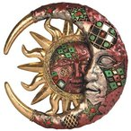 壁飾りGeorge S. Chen Imports Red Cracked Mosaic Crescent Moon & Sun Wall Plaque Decoration