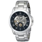 フォッシルFossil Men's ME3055 Grant Three-Hand Automatic Stainless Steel Watch - Silver-Tone