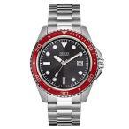 ゲスGUESS Black, Red and Silver-Tone Sport Watch