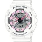 カシオCasio G-Shock Pink and Gray Dial White Resin Quartz Ladies Watch GMAS110MP-7A