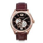 ビンルンBinlun Brown Leather Japan Self Winding Mechanic Chronograph Movement Rose Gold Stainless Steel Watch