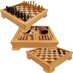 ボードゲームDeluxe 7-in-1 Game Set - Chess, Checkers, Backgammon and More, Brown