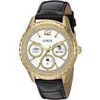 【当店1年保証】ゲスGUESS Women's Connect Smart Watch Touch Screen Android Wear Stainless Steel Gold-Tone with Black Lea