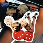 Ted Hammond - Reminiscent Lucky Lady Pinup PIN-UP ステッカー Sticker - 5.5  x 5  - Weather Resistant  Long Lasting for Any Surface