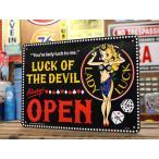 レディ・ラック サインプレート オープン 看板 ホットロッド 幸運 女神 ガレージ アメリカ アメリカン雑貨 LADY LUCK OPEN_SP-CA65-SHO