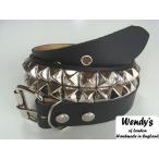 WENDY'S ウェンディーズ 正規 イギリス製 2-Row Large Pyramid Stud Belt 2連ラージ ピラミッド スタッズ ベルト(SV/BK)