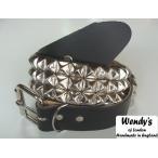 WENDY'S ウェンディーズ 正規 イギリス製 3-Row Large Pyramid Stud Belt 3連ラージ ピラミッド スタッズ ベルト(SV/BK)