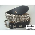 WENDY'S ウェンディーズ 正規 イギリス製 3-Row Small Pyramid Stud Belt 3連スモール ピラミッド スタッズ ベルト(SV/BK)