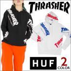 THRASHER x HUF パーカー プルオーバー  黒 白