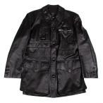 ジャンポールゴルチエ オムJean Paul GAULTIER HOMME デザインポケットレザーロングジャケット 黒48 【メンズ】
