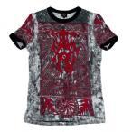 ジャンポールゴルチエ オムJean Paul GAULTIER HOMME トライバルプリントリンガーTシャツ 黒赤48 【メンズ】