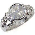 プラチナ 指輪 キュービックジルコニアリング 大粒 キュービックジルコニア アンティーク リング