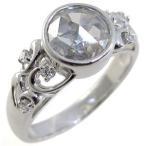 指輪 キュービックジルコニア リング アンティーク 一粒 プラチナ リング