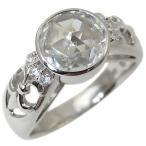 プラチナ リング 大粒 アンティーク キュービックジルコニアリング 指輪