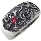 髑髏リング 誕生石 がい骨 指輪 ドクロ 薔薇 メンズ