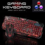 ショッピングキーボード ゲーミングキーボード マウス セット ゲーマー ゲーム 3色LEDバックライト付き 点滅 eスポーツ USB 有線 ゲームキーボード 標準英語配列 ブラック