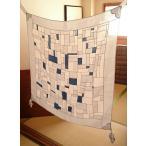 ポジャギ 完成品 麻100%  藍 正方形 日本製です。