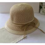 麦わら帽子 つば広帽 つば広ハット リボン付き レディース 帽子 ぼうし シンプル 無地