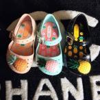 子ども用 ラバーシューズ キッズ用 女の子 靴 シューズ ラバー 甲ストラップ 女の子 女児 子供 パイナップル フルーツ ピンク ブラック ベージュ