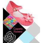ラバーシューズ ラバーサンダル 靴 くつ 子供用 キッズ KIDS 女の子 女児 フラワーモチーフ お花 ストラップ ぺたんこ フラット 可愛い カジ